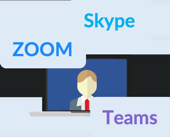オンライン商談にZOOM、Skype、Microsoft Teams等を利用するイメージ